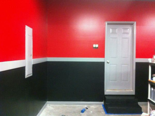 Superieur Red And Black Garage Interior Paint With White Center Strip Of Color