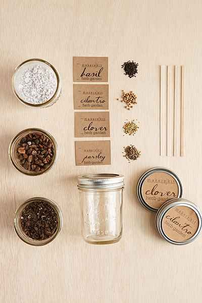 Makerskit DIY Mason Jar Herb Garden Kit - Urban Outfitters - basil, cilantro, clover, parsley
