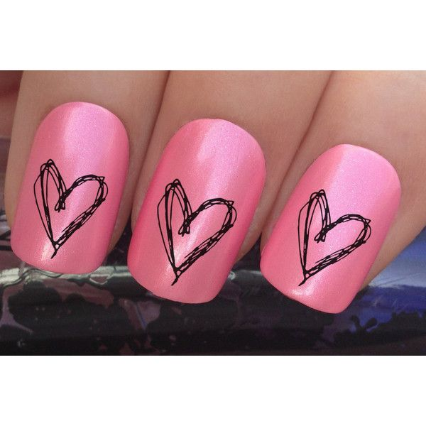 valentine's nail decals #347 drawn love hearts water transfers... ($2.37) ❤ liked on Polyvore featuring beauty products, nail care and nail treatments