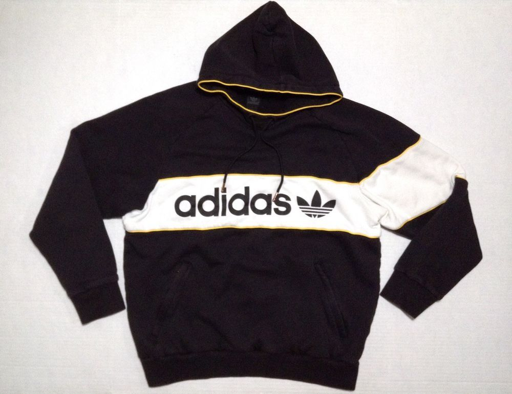 768133f0696cd Adidas Pull Over Hoodie Sweatshirt Men's XL Black Spellout ...