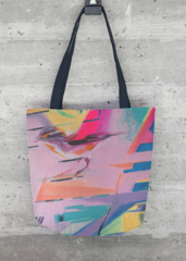 Bird Theme: tote bag, print of acrylic painting, presh and vibrant colors, smart and modern design, sparrow bird, abstract background