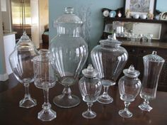 How to Make Apothecary Jars - using thrifted glass bowls, candlesticks and  vases and glue