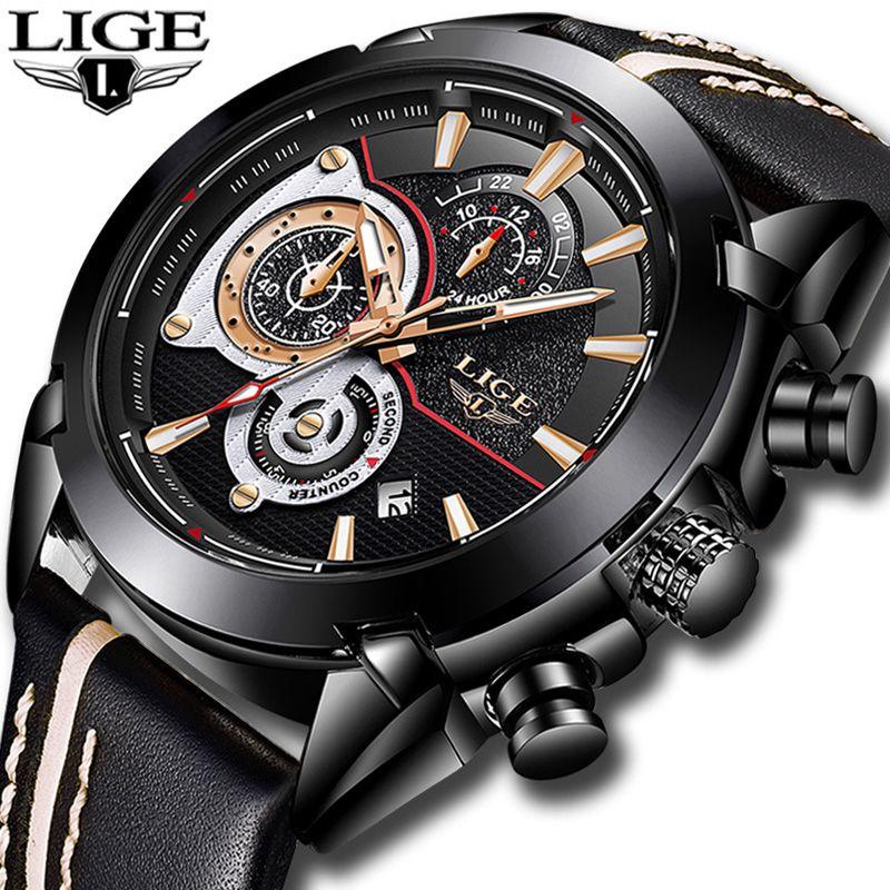 bc190283055 LIGE Moda Sports Chronograph Mens Relógios Top Marca de Luxo Relógio de  Quartzo Dos Homens de