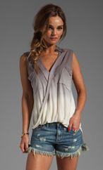 YOUNG, FABULOUS & BROKE Alexis Top in Grey Ombre - Tops
