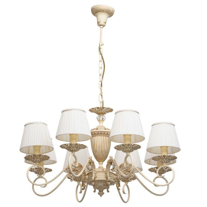 Klassischer 8-flammiger Kronleuchter mit Stoffschirmen MW-Light - leuchten wohnzimmer landhausstil