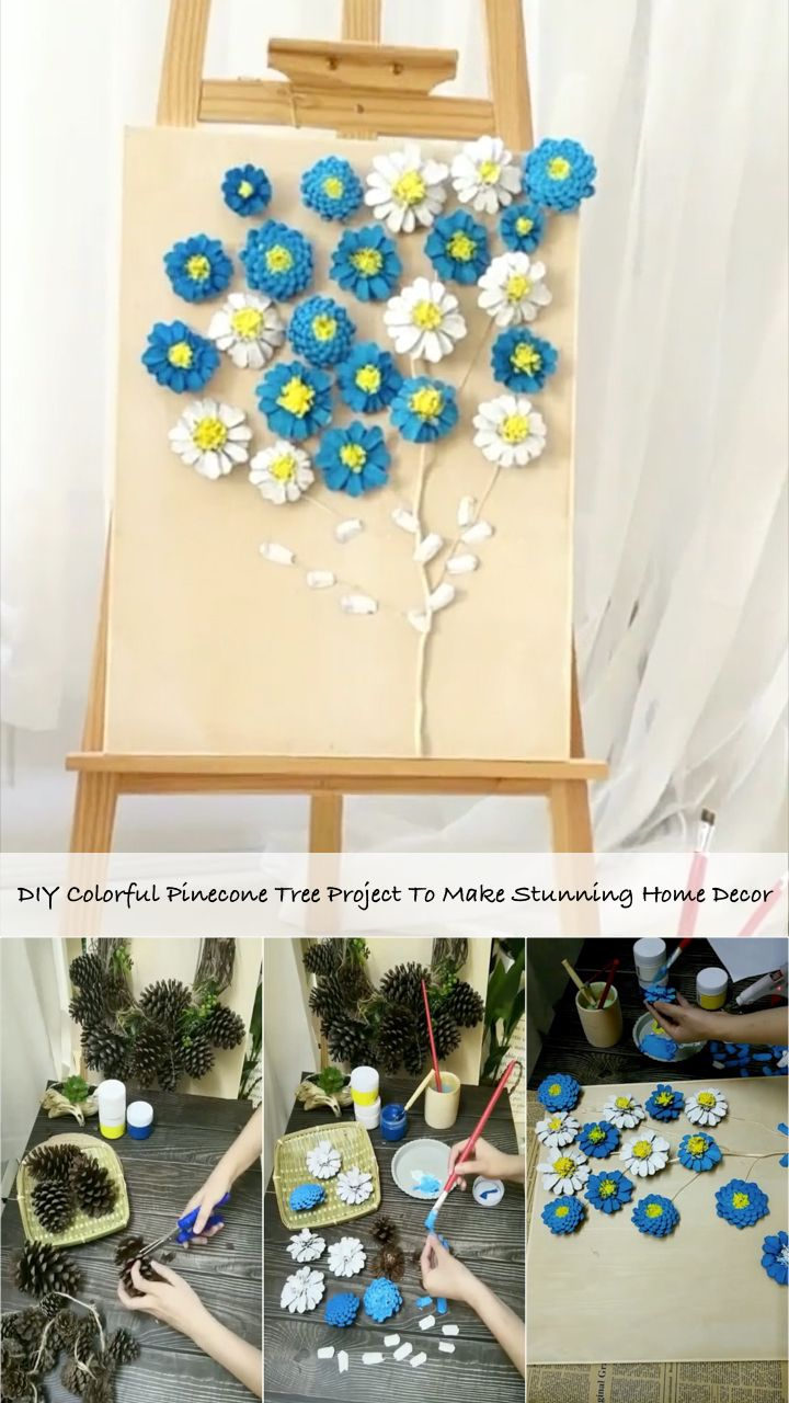 DIY Colorful Pinecone Tree Project To Make Stunning Home Decor #pineconeflowers