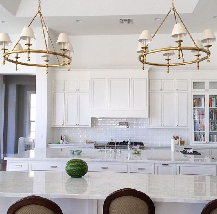 Circa Lighting two classic ring chandeliers over kitchen ...