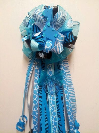 Baby Shower Corsage Boy | Sweet Safari Blue Giraffe Corsage