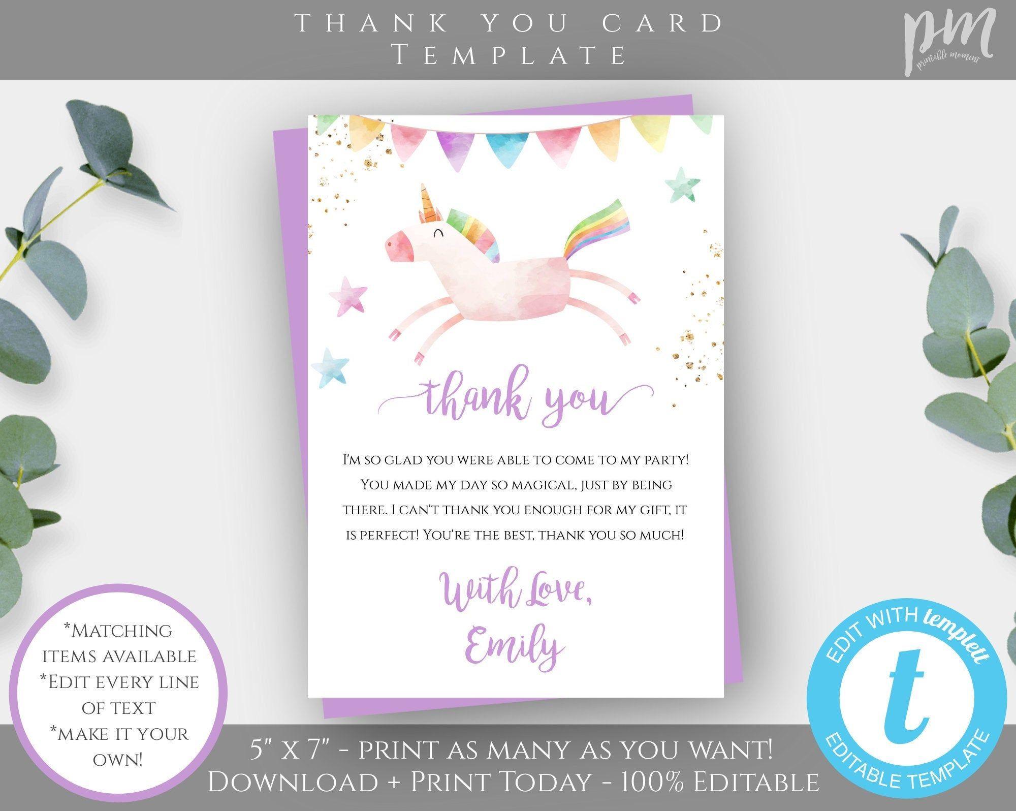 unicorn thank you card template for birthday editable 5x7