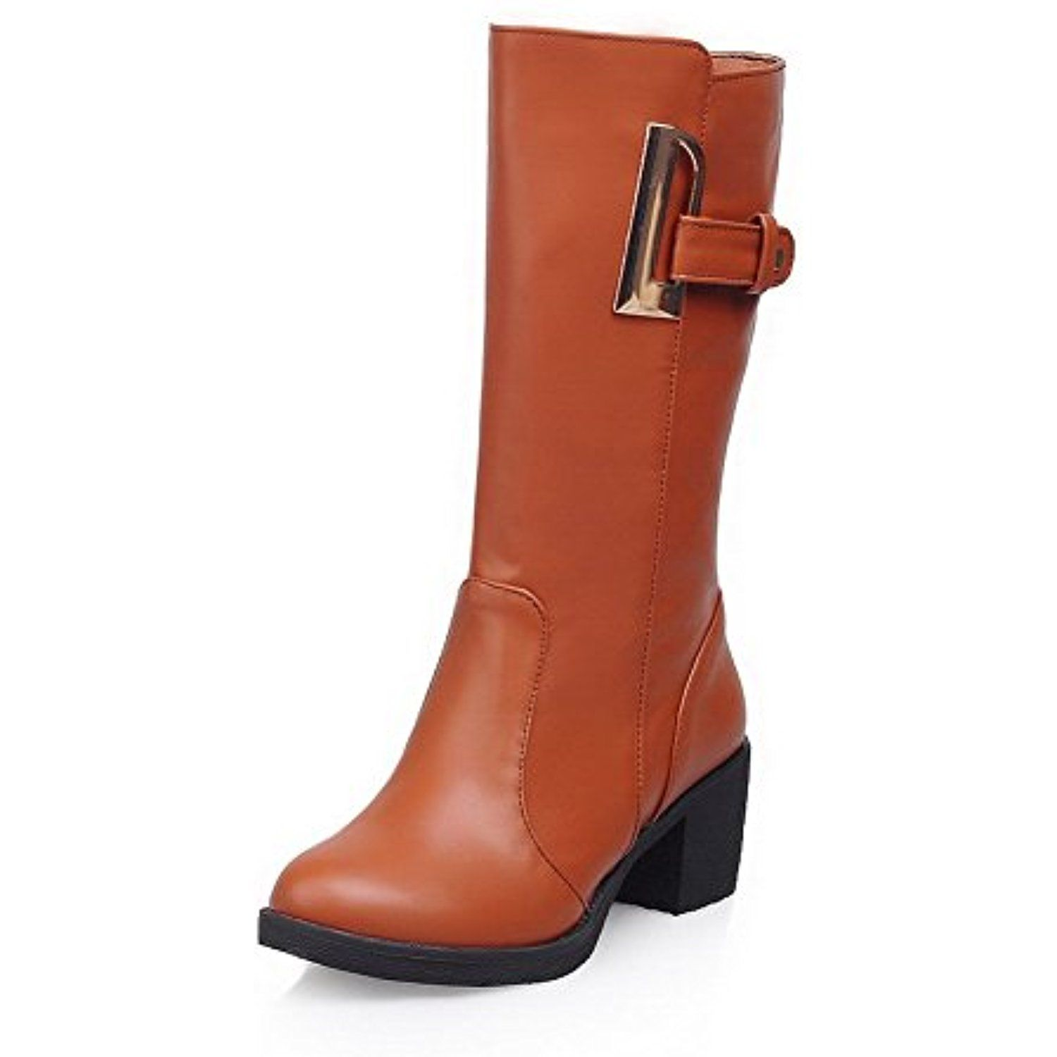 Women S Pu Mid Top Solid Pull On Kitten Heels Boots See This Great Product This Is An Affiliate Link And I R Kitten Heel Boots Pull On Boots Kitten Heels