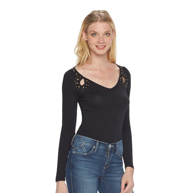 Women's Rock & Republic® Studded Bodysuit, Size: Medium, Black