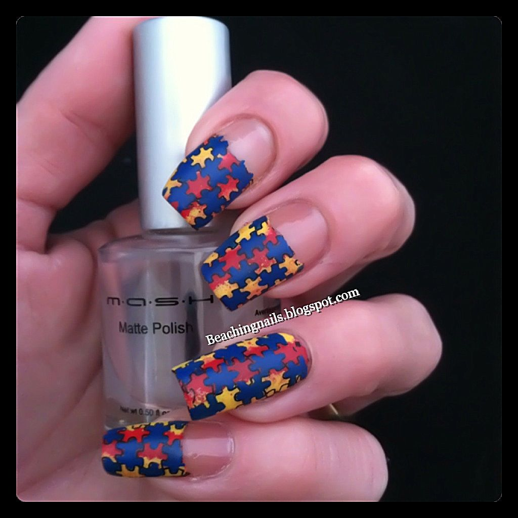 Puzzle Nail Art _ Supporting Autism Awareness Month! check out www ...