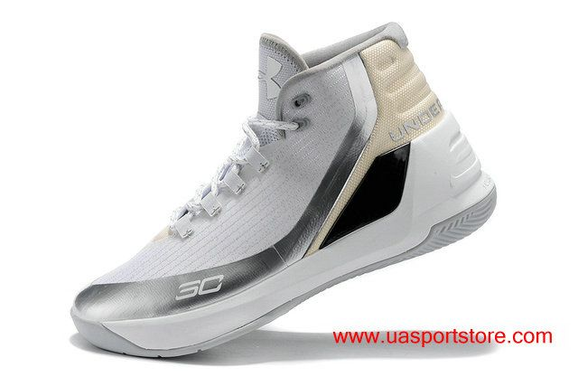 low priced 7014c 3d2a1 Under Armour UA Curry 3 White Metallic Silver Men s Basketball Shoes