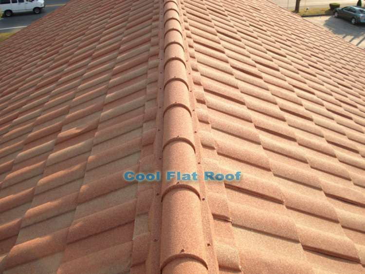 Stone Coated Steel Roofing Spanish Barrel Tile Stone Coated Steel Metal Roof Installed At Venus De Milo Restaur Metal Roof Metal Roof Cost Metal Roofing Prices