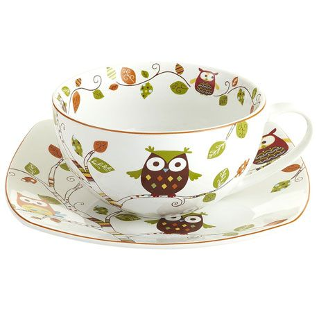 Owl Mug & Plate Set HOW FREAKING CUTE!!! Not sure what I would use it for but it is ADORABLE!!!