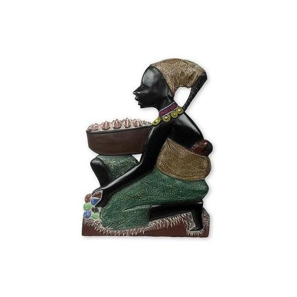 NOVICA Hand Painted Mother and Child African Wood Wall Sculpture (€91) ❤ liked on Polyvore featuring home, home decor, wall art, wall decor, wooden wall art, novica, african home decor, quote wall art and wooden wall sculpture