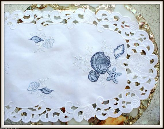 35 Embroidered Dresser Scarf Seashell Nautical Ocean Table Runner Beach House Lace Doilies Sea Shells Table Runners