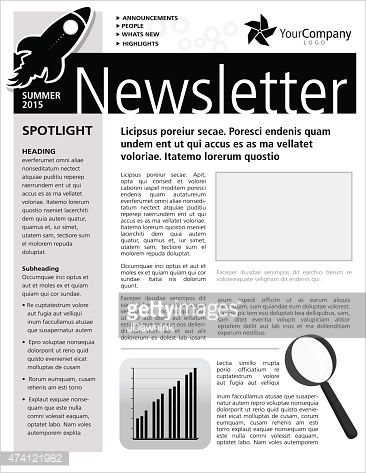 BlackAndWhiteCompanyNewsletterDesignFlyerTemplateVector
