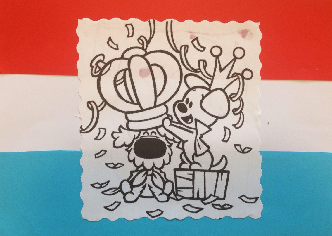 Koningsdag Vlag Met Woezel En Pip Thema Vlag Kleurplaten