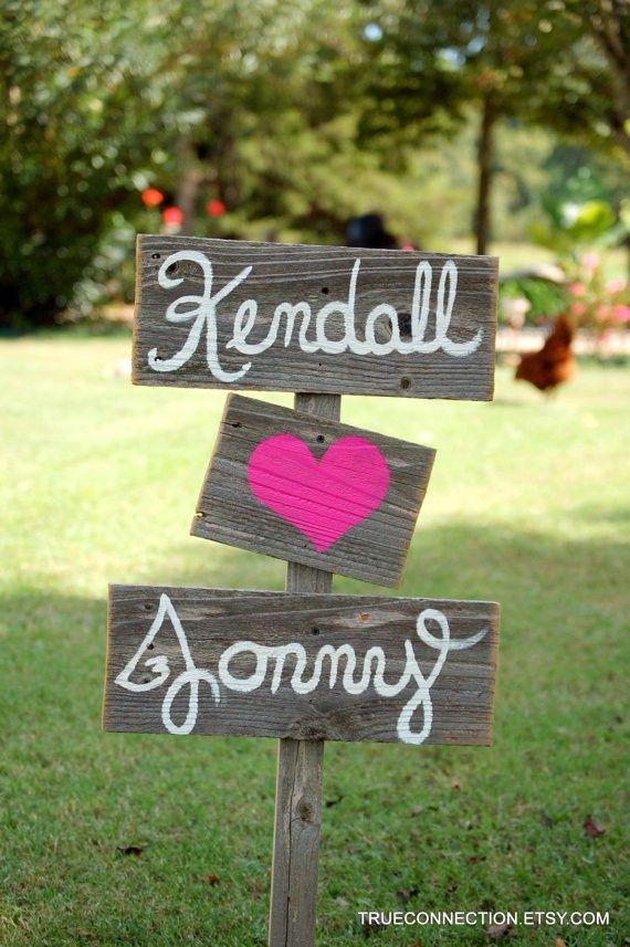 Wood Wedding Signs Romantic Outdoor Weddings Hand Painted Reclaimed Custom Rustic Vintage Road