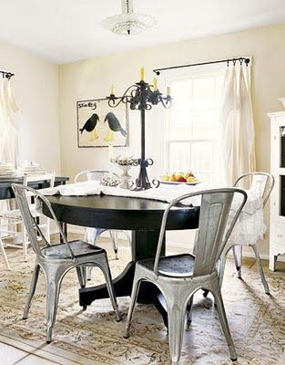 Galvanized Metal Chairs Love The Mixed Elements Of Wood Metal And
