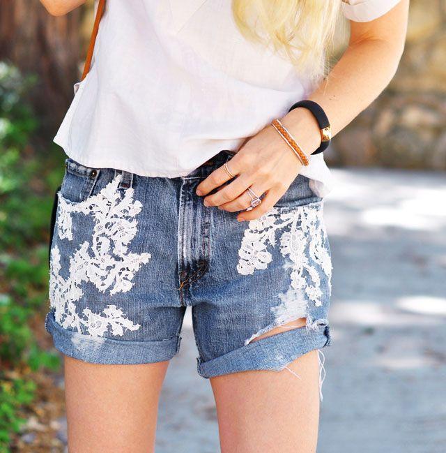 DIY Lace Jean Shorts | Vintage Lace Embroidered Denim Cut Offs