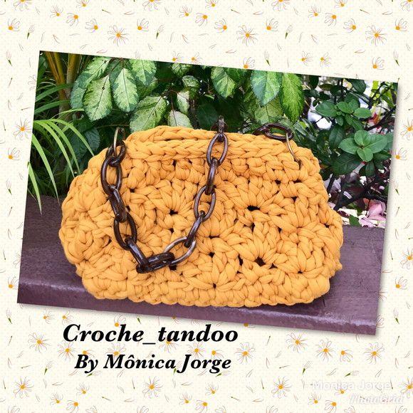 Bolsa feminina feita à mão em Croche, fio de malha premium, alça em elos de a…