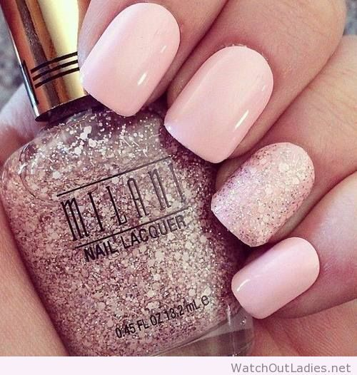 Amazing Light Pink Nails With Glitter With Images Cute Pink