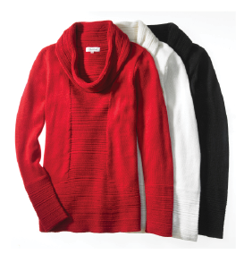 Calvin Klein: Warm up to the idea of giving her a cowl neck sweater - it's a classic!