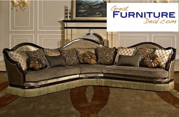 Mariano Furniture Golden Brown Fabric And Walnut Wood Traditional Sectional Bm 763 Furniture Affordable Living Room Set High End Furniture Stores