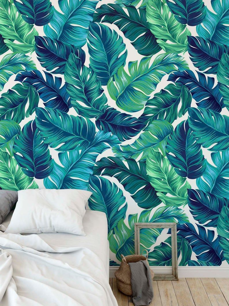 Turquoise And Green Tropical Leaves Wallpaper Self Adhesive Etsy Leaf Wallpaper Palm Leaf Wallpaper Tropical Leaves