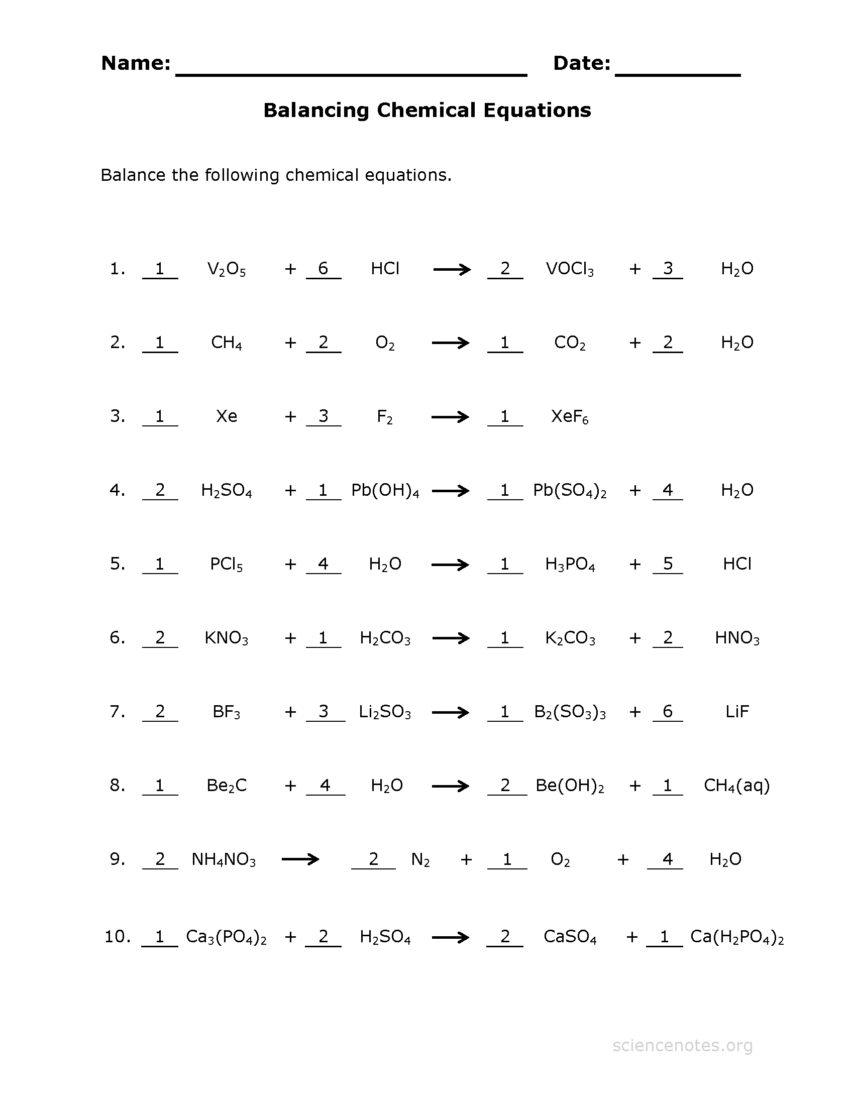 Balancing Equations Worksheet A Level