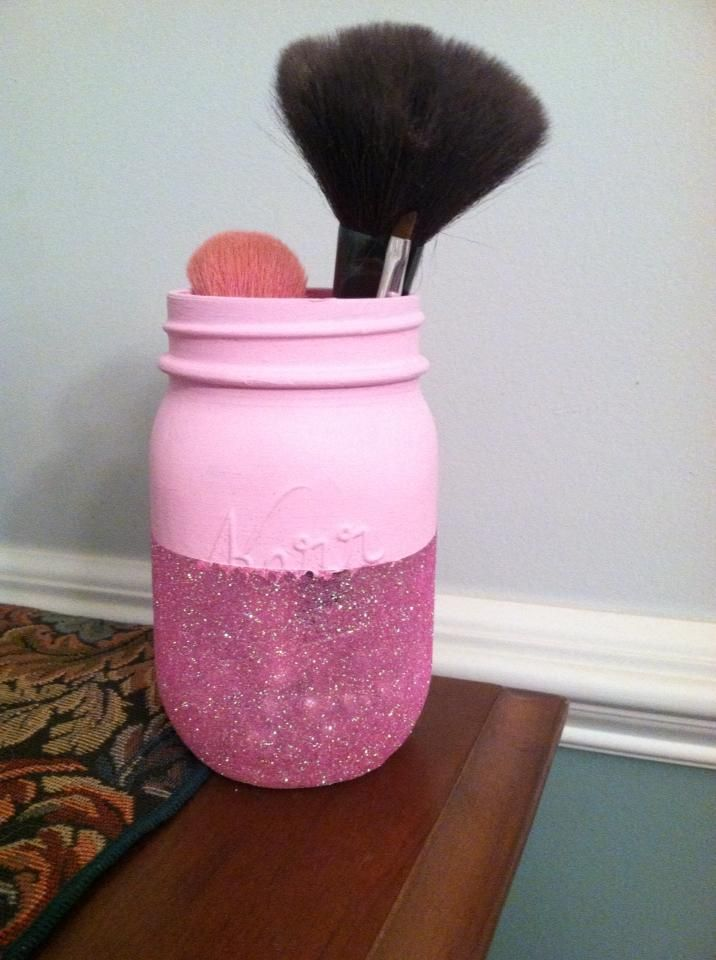 Mason Jar make up brush holder
