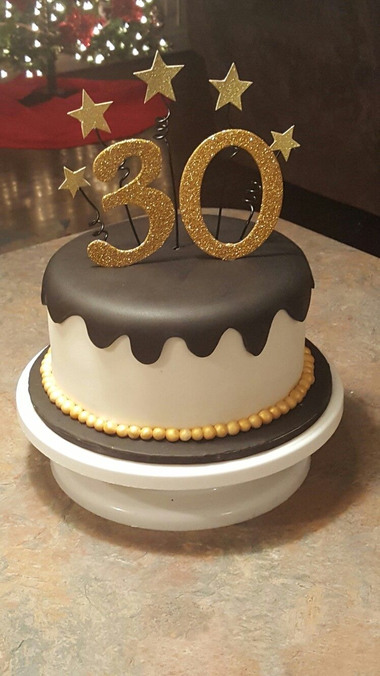 Black And Gold 30th Birthday Cake Birthday Cake For Boyfriend 30 Birthday Cake Birthday Cake