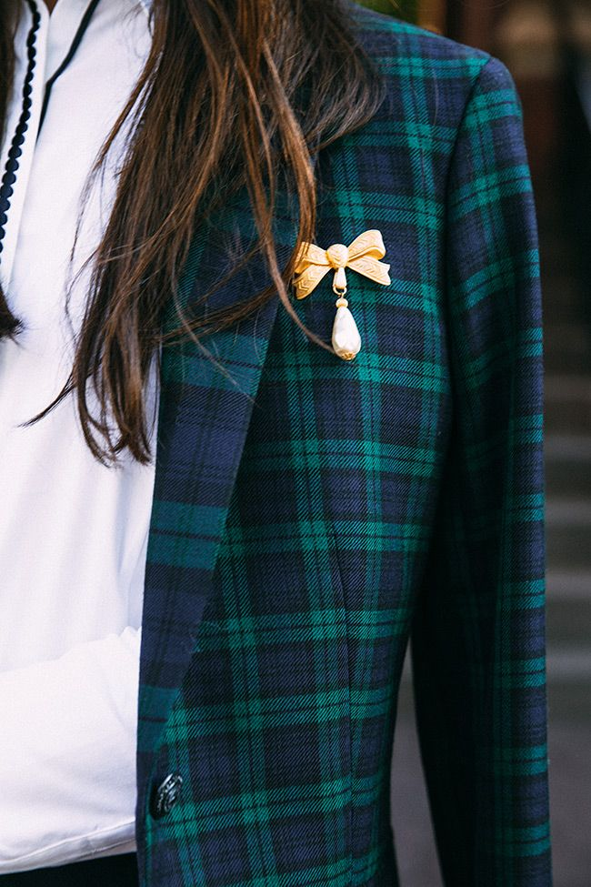 Miriam Haskell vintage bow brooch and Blackwatch plaid