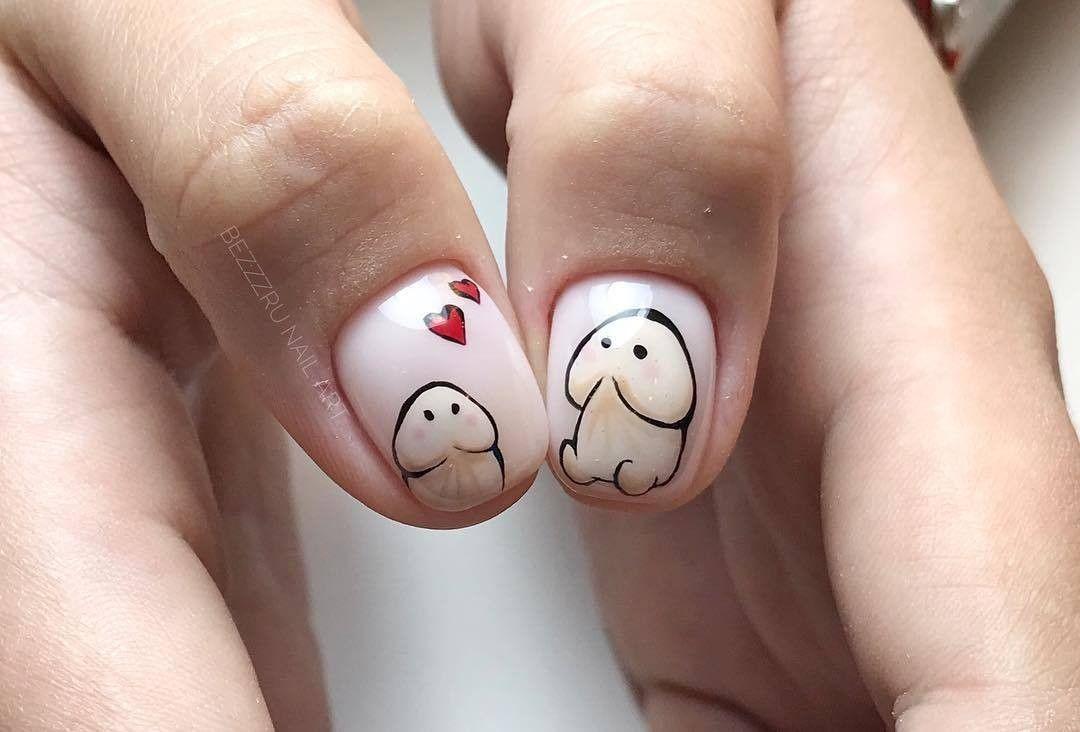 маникюр на короткие ногти с прикольным рисунком получится после