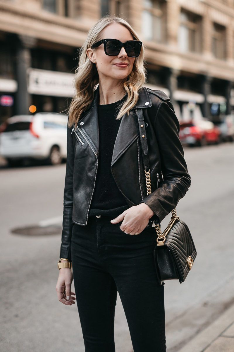 acc838784355 Blonde Woman Wearing Club Monaco Black Leather Jacket Black Sweater Chanel  Boy Bag Fashion Jackson Dallas