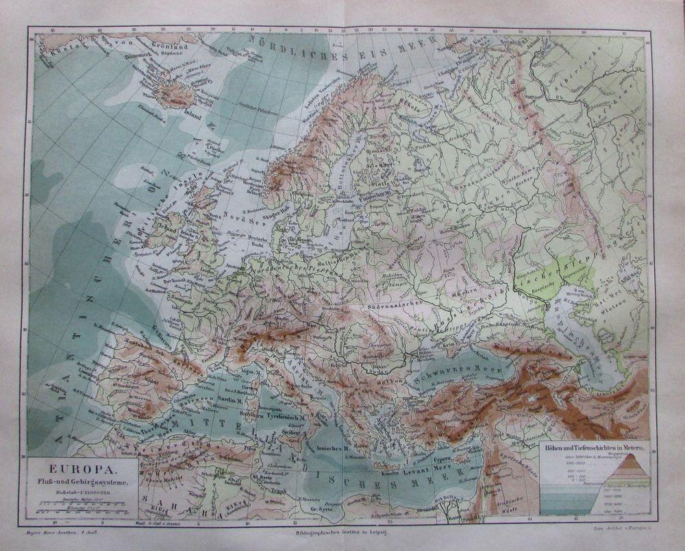 1889 EUROPA FLUSS GEBIRGSSYSTEME alte Landkarte