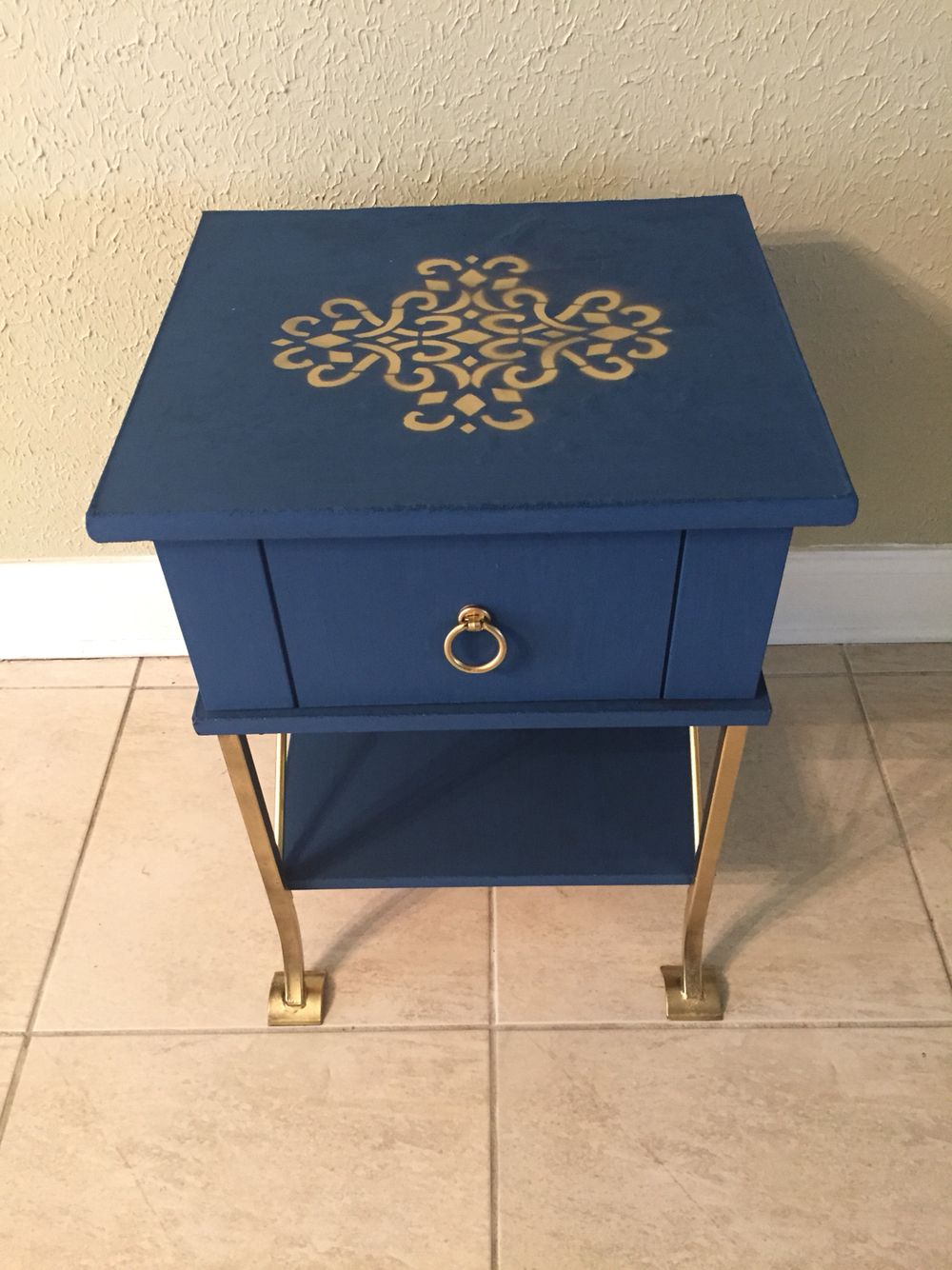 Side table with stencil
