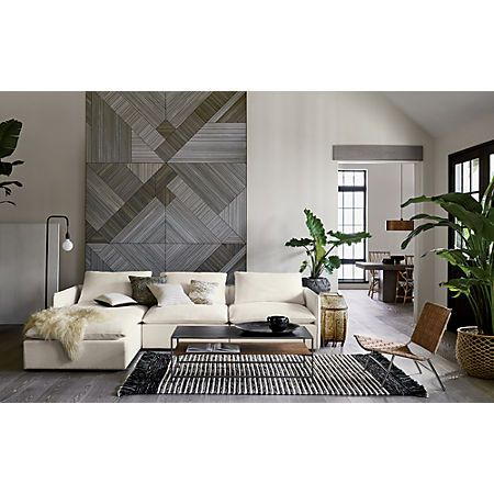 Lumin white linen piece sectional sofa wood veneer new homes also best home decor images in beach cottage rh pinterest