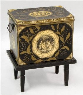 Absolutely stunning tole box on stand and in marvelous ...