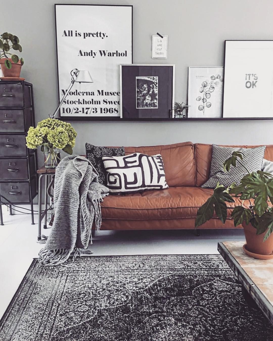 606 Likes 4 Comments Boho Style Sweden Bohostylesweden On Instagram L E A T H Brown Couch Living Room Living Room Wall Color Minimalist Living Room
