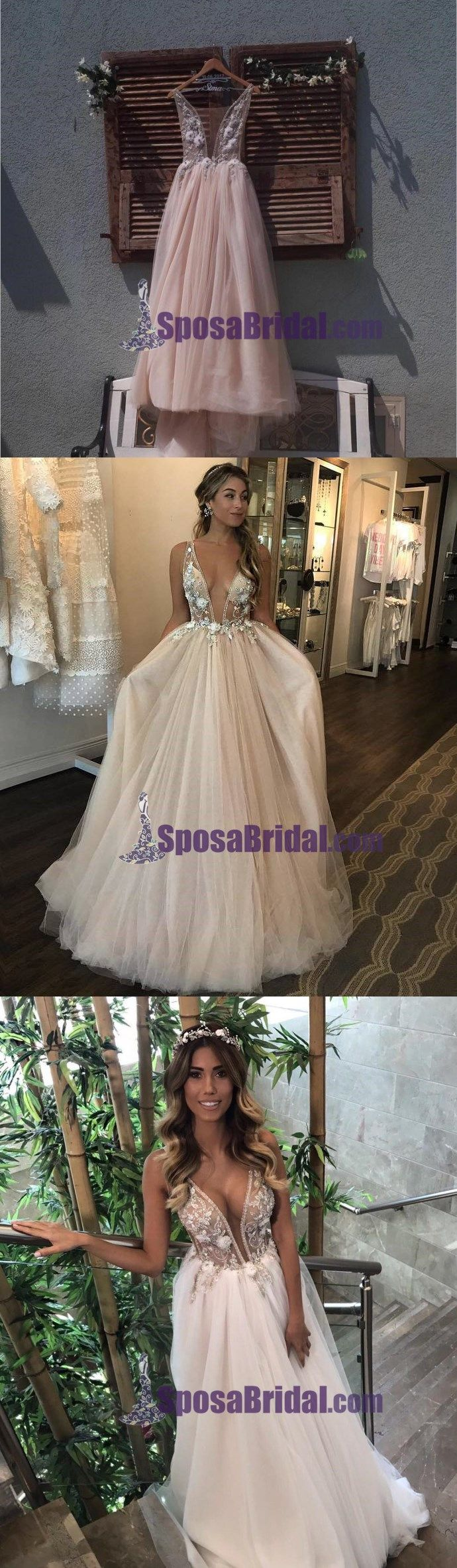 Deep v neck puffy tulle wedding dress d floral appliques sheer