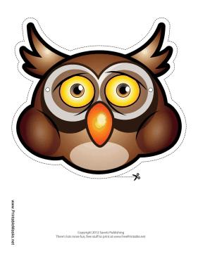 This brown owl mask has an orange beak, big ears, and ...
