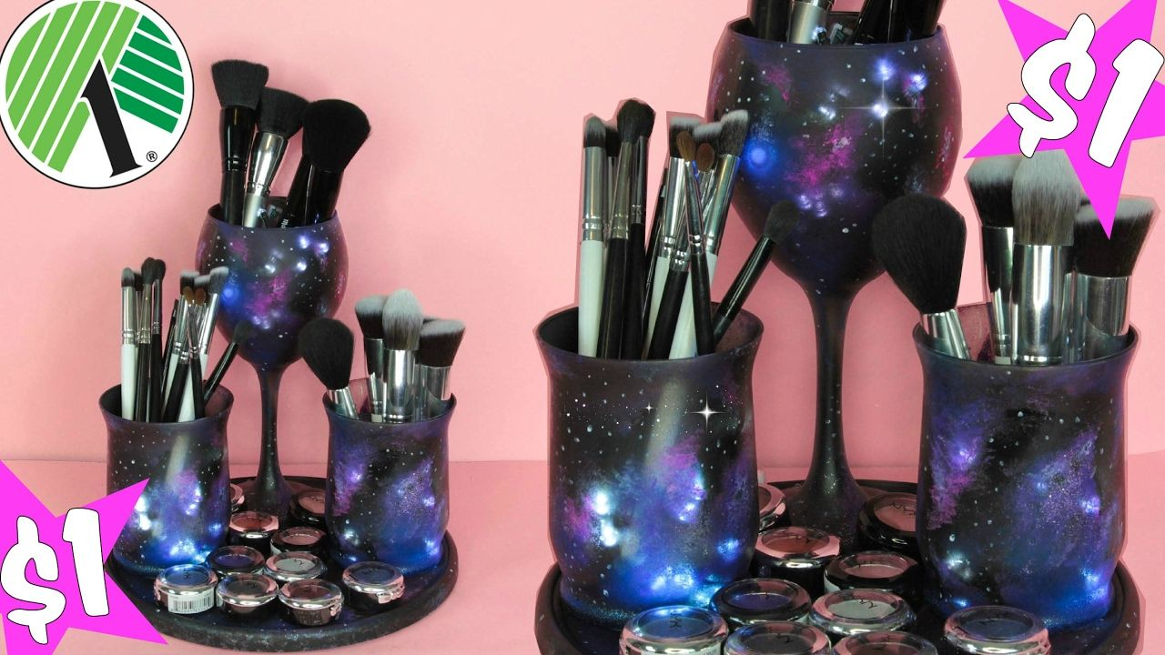 Rotating Galaxy Dollar Tree Makeup Organizer YouTube