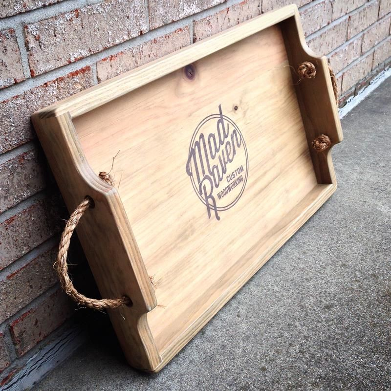 An inexpensive, large tray of easy/moderate difficulty. All you really need is 2 boards, rope, and hardware! This project features single rabbet corners, custom ink transfer, and unique rope handles. Great for serving and displaying!  (22