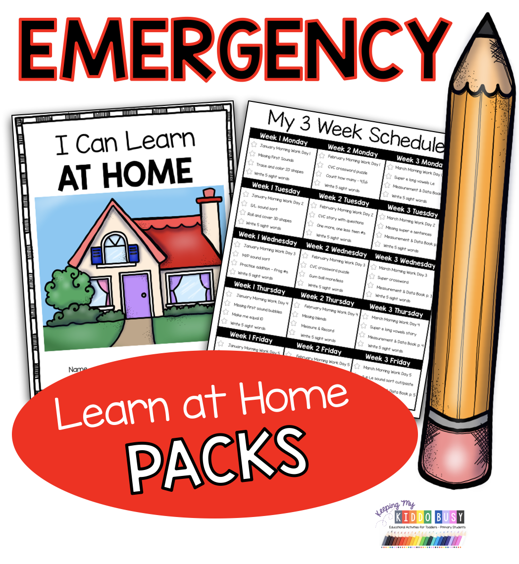 Photo of FREE Emergency Kindergarten at home learning packs – coronavirus – summer break homeschool calendar