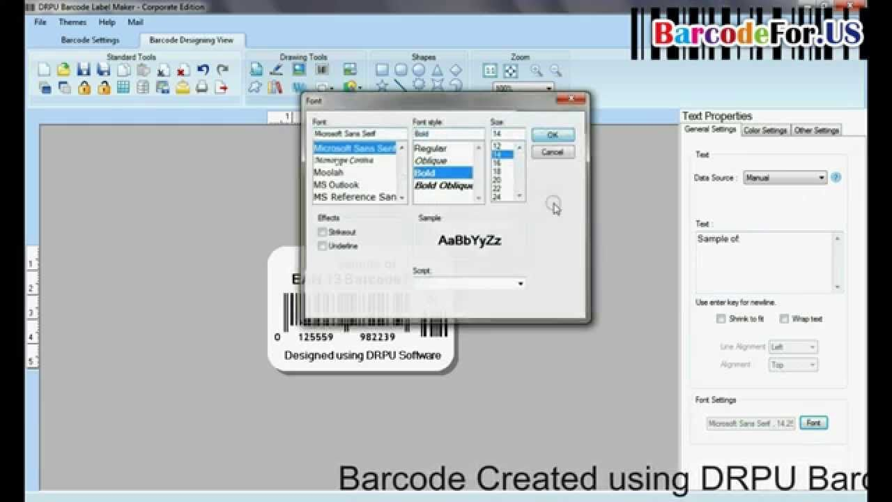 Create EAN 13 linear barcode for retail industry In this