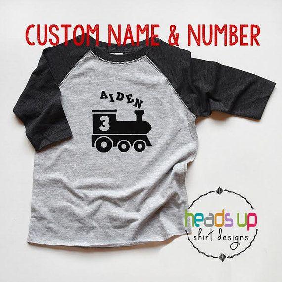 train birthday shirt personalized
