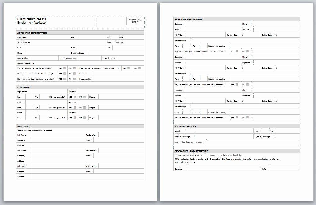 Elegant Job Application form Template Word in 2020 Job